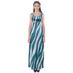 Skin3 White Marble & Teal Leather Empire Waist Maxi Dress