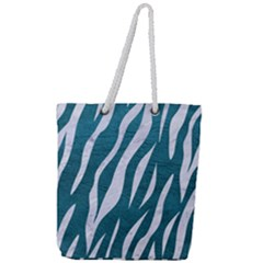 Skin3 White Marble & Teal Leather Full Print Rope Handle Tote (large) by trendistuff