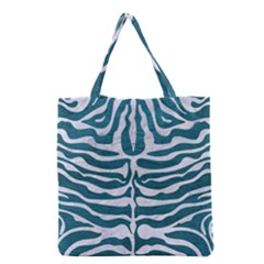 Skin2 White Marble & Teal Leather Grocery Tote Bag by trendistuff