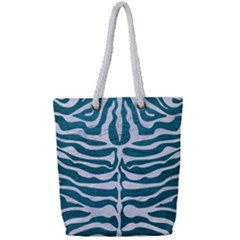 Skin2 White Marble & Teal Leather Full Print Rope Handle Tote (small) by trendistuff