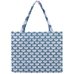 Scales3 White Marble & Teal Leather (r) Mini Tote Bag by trendistuff