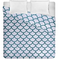 Scales1 White Marble & Teal Leather (r) Duvet Cover Double Side (king Size) by trendistuff