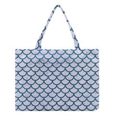 Scales1 White Marble & Teal Leather (r) Medium Tote Bag by trendistuff