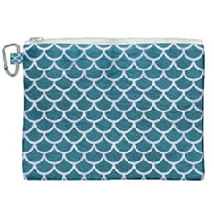 Scales1 White Marble & Teal Leather Canvas Cosmetic Bag (xxl) by trendistuff
