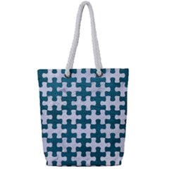 Puzzle1 White Marble & Teal Leather Full Print Rope Handle Tote (small) by trendistuff