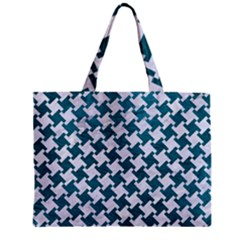 Houndstooth2 White Marble & Teal Leather Zipper Mini Tote Bag by trendistuff