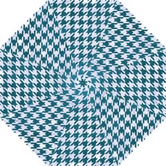 Houndstooth1 White Marble & Teal Leather Golf Umbrellas by trendistuff