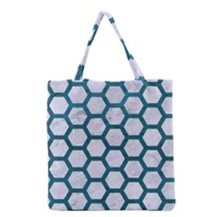 Hexagon2 White Marble & Teal Leather (r) Grocery Tote Bag by trendistuff