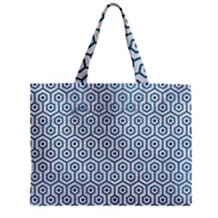Hexagon1 White Marble & Teal Leather (r) Zipper Mini Tote Bag by trendistuff