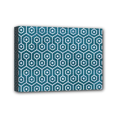 Hexagon1 White Marble & Teal Leather Mini Canvas 7  X 5  by trendistuff