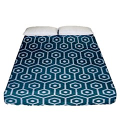 Hexagon1 White Marble & Teal Leather Fitted Sheet (queen Size) by trendistuff