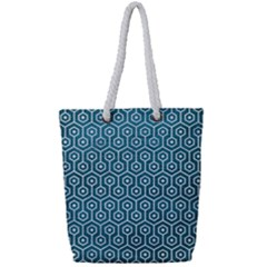 Hexagon1 White Marble & Teal Leather Full Print Rope Handle Tote (small) by trendistuff