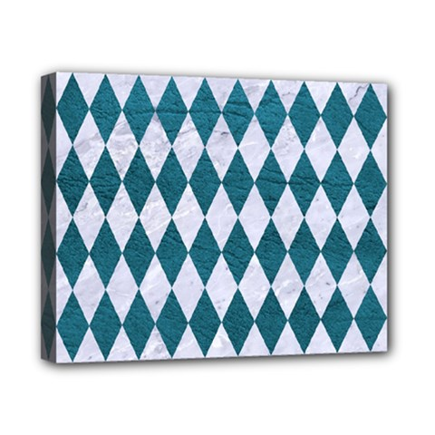Diamond1 White Marble & Teal Leather Canvas 10  X 8  by trendistuff