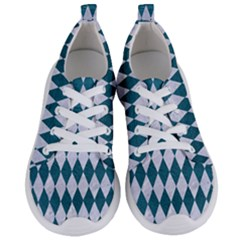 Diamond1 White Marble & Teal Leather Women s Lightweight Sports Shoes