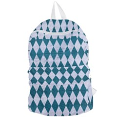 Diamond1 White Marble & Teal Leather Foldable Lightweight Backpack by trendistuff