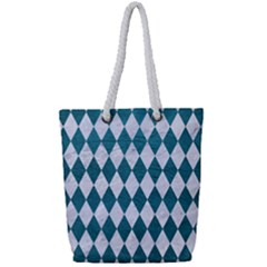 Diamond1 White Marble & Teal Leather Full Print Rope Handle Tote (small) by trendistuff