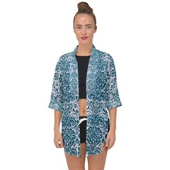 Damask2 White Marble & Teal Leather (r) Open Front Chiffon Kimono