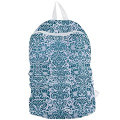 Damask2 White Marble & Teal Leather (r) Foldable Lightweight Backpack by trendistuff