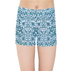 Damask2 White Marble & Teal Leather Kids Sports Shorts