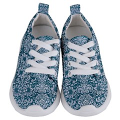 Damask2 White Marble & Teal Leather Kids  Lightweight Sports Shoes