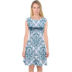 Damask1 White Marble & Teal Leather (r) Capsleeve Midi Dress