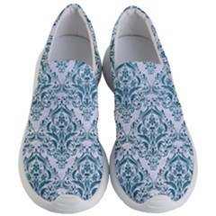 Damask1 White Marble & Teal Leather (r) Women s Lightweight Slip Ons