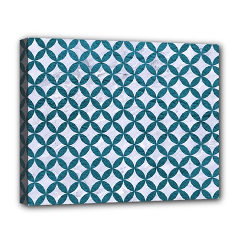 Circles3 White Marble & Teal Leather (r) Deluxe Canvas 20  X 16   by trendistuff