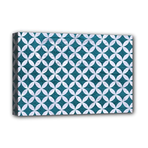 Circles3 White Marble & Teal Leather Deluxe Canvas 18  X 12   by trendistuff