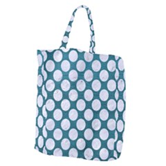 Circles2 White Marble & Teal Leather Giant Grocery Zipper Tote by trendistuff