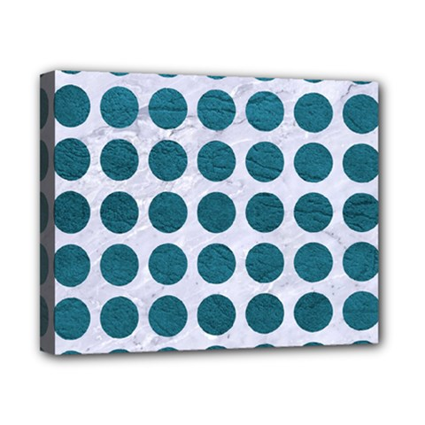 Circles1 White Marble & Teal Leather (r) Canvas 10  X 8  by trendistuff