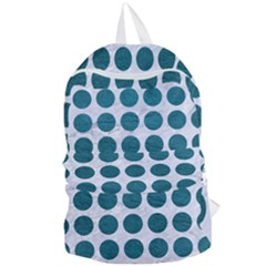 Circles1 White Marble & Teal Leather (r) Foldable Lightweight Backpack by trendistuff