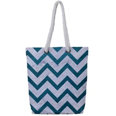 Chevron9 White Marble & Teal Leather (r) Full Print Rope Handle Tote (small) by trendistuff