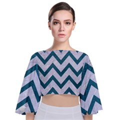 Chevron9 White Marble & Teal Leather (r) Tie Back Butterfly Sleeve Chiffon Top