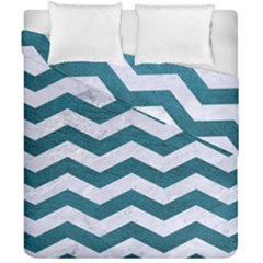 Chevron3 White Marble & Teal Leather Duvet Cover Double Side (california King Size) by trendistuff