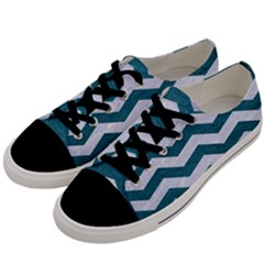 Chevron3 White Marble & Teal Leather Men s Low Top Canvas Sneakers by trendistuff