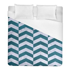 Chevron2 White Marble & Teal Leather Duvet Cover (full/ Double Size) by trendistuff