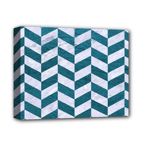 Chevron1 White Marble & Teal Leather Deluxe Canvas 14  X 11  by trendistuff