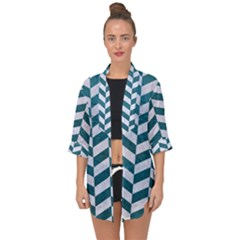 Chevron1 White Marble & Teal Leather Open Front Chiffon Kimono