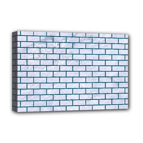 Brick1 White Marble & Teal Leather (r) Deluxe Canvas 18  X 12   by trendistuff