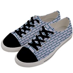 Brick1 White Marble & Teal Leather (r) Men s Low Top Canvas Sneakers by trendistuff