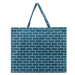 Brick1 White Marble & Teal Leather Zipper Large Tote Bag by trendistuff