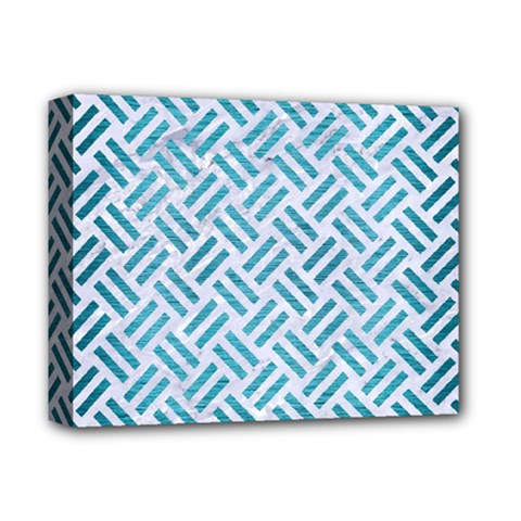 Woven2 White Marble & Teal Brushed Metal (r) Deluxe Canvas 14  X 11  by trendistuff