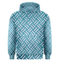 Woven2 White Marble & Teal Brushed Metal Men s Pullover Hoodie