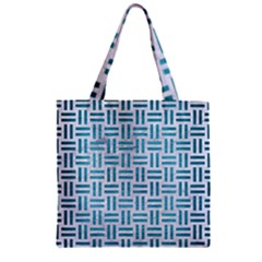 Woven1 White Marble & Teal Brushed Metal (r) Zipper Grocery Tote Bag by trendistuff