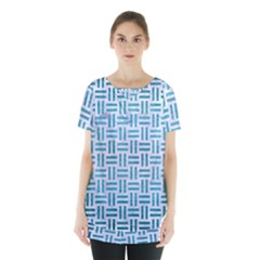Woven1 White Marble & Teal Brushed Metal (r) Skirt Hem Sports Top by trendistuff