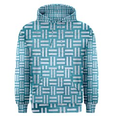 Woven1 White Marble & Teal Brushed Metal Men s Pullover Hoodie