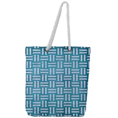 Woven1 White Marble & Teal Brushed Metal Full Print Rope Handle Tote (large) by trendistuff