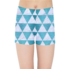 Triangle3 White Marble & Teal Brushed Metal Kids Sports Shorts
