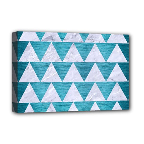 Triangle2 White Marble & Teal Brushed Metal Deluxe Canvas 18  X 12   by trendistuff