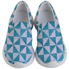 Triangle1 White Marble & Teal Brushed Metal Kid s Lightweight Slip Ons
